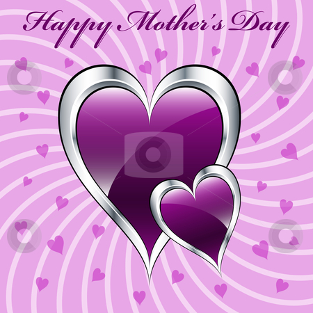 Mother's day purple hearts stock vector clipart, Mother's day purple hearts symbolizing love, set on a lilac swirly background. by toots77