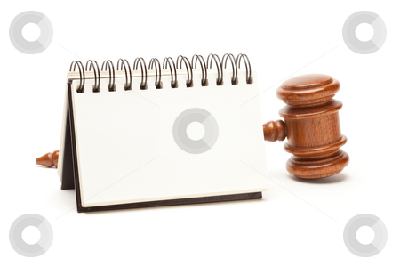 Blank Spiral Note Pad and Gavel on White stock photo, Blank Spiral Note Pad and Gavel Isolated on White. by Andy Dean