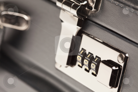 Close Up Shot of Black Briefcase Latch and Lock stock photo, Abstract Close Up Shot of a Black Leather Briefcase Latch and Lock. by Andy Dean