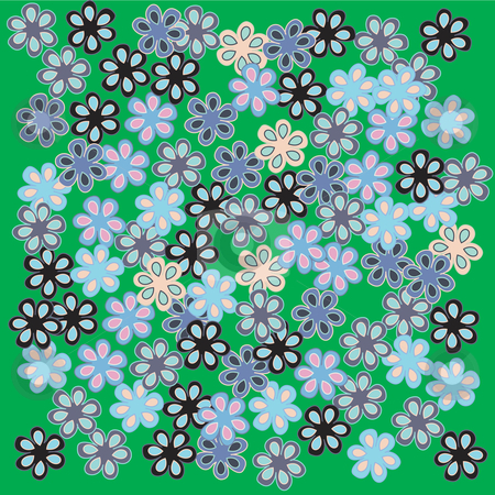 Flowers on green stock vector clipart, Stylized flowers on green bacground, vector illustration by Richard Laschon