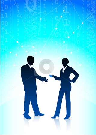 Businessman and businesswoman on blue internet background stock vector clipart, Original Vector Illustration: businessman and businesswoman on blue internet background AI8 compatible by L Belomlinsky