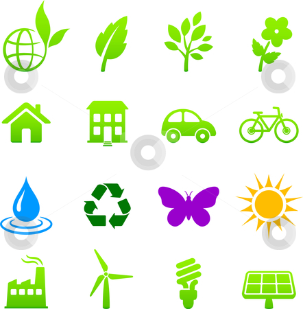 Environment elements icon set stock vector clipart, Original vector illustration: environment elements icon set by L Belomlinsky