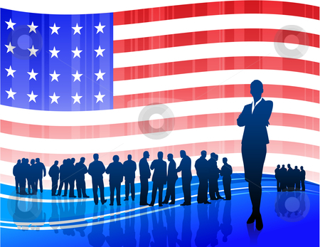 Businesswoman on Patriotic American Flag background stock vector clipart, Origianl Vector Illustration: Businesswoman on Patriotic American Flag background File is AI8 compatible by L Belomlinsky