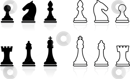 Simple Chess set collection stock vector clipart, Original vector illustration: Simple Chess set collection by L Belomlinsky