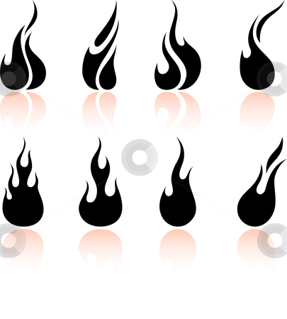 Flame and fire stock vector clipart, Original vector illustration: Flame and fire by L Belomlinsky