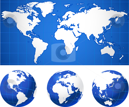 World map and globes stock vector clipart, World map and globes Original Vector Illustration Globes and Maps Ideal for Business Concepts by L Belomlinsky