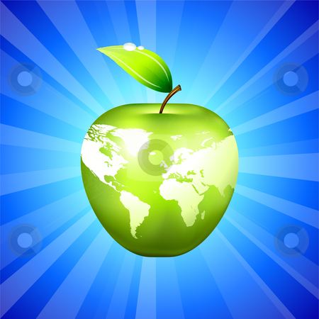 Apple Globe World Map on Blue Background stock vector clipart, Apple Globe World Map on Blue Background Original Vector Illustration Apple Illustration by L Belomlinsky