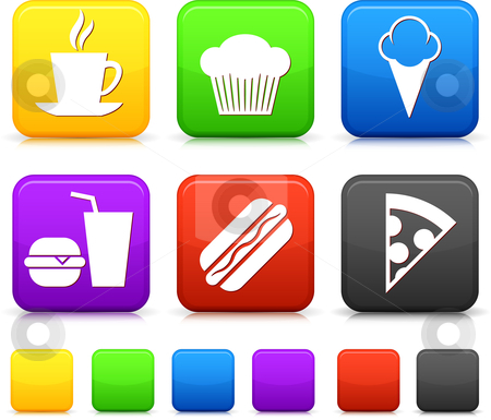 Food Icond on Square Internet Buttons stock vector clipart, Food Icond on Square Internet Buttons Original vector Illustration by L Belomlinsky
