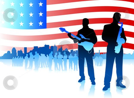 Music band on Patriotic American Flag background stock vector clipart, Origianl Vector Illustration: Music band on Patriotic American Flag background File is AI8 compatible by L Belomlinsky