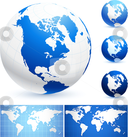 Globes and World Maps stock vector clipart, Globes and World Maps Original Vector Illustration Globes and Maps Ideal for Business Concepts by L Belomlinsky