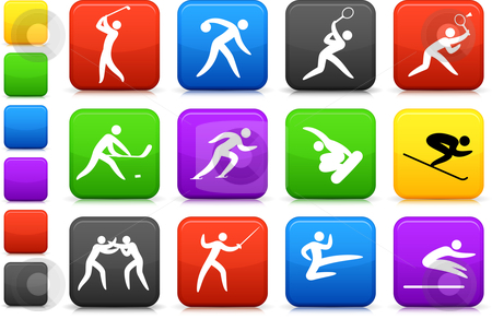 Competative and olympic sports icon collection stock vector clipart, Original vector illustration: competative and olympic sports icon collection by L Belomlinsky