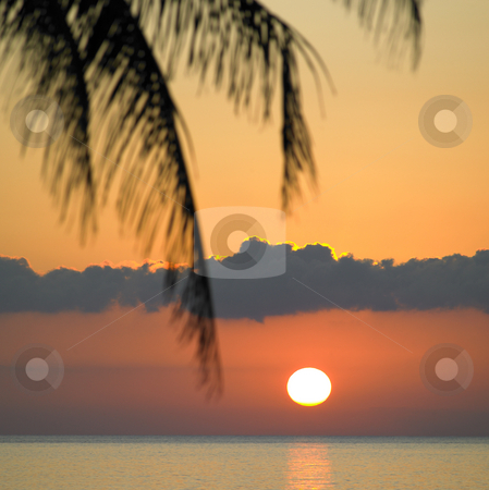 Sunset stock photo, Sunset over Caribbean Sea, Maria la Gorda, Pinar del Rio Province, Cuba by Richard Semik