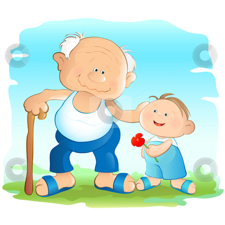 Grandfather stock vector clipart, Illustration of a kind grandfather and his grandchild. by Neda Sadreddin