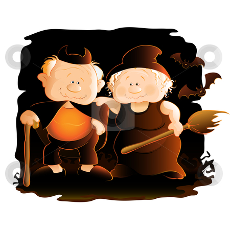 Halloween stock vector clipart, Illustration of grandparents having fun in halloween night. by Neda Sadreddin