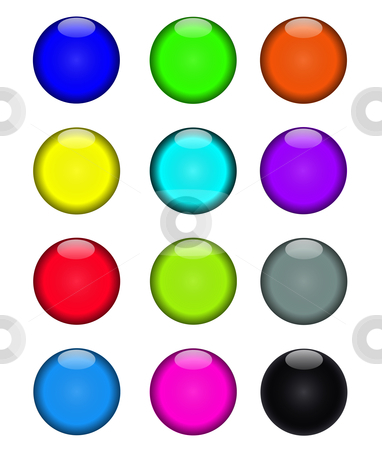 Colorful buttons stock vector clipart, Colorful buttons for web page layout. by Stephen Marques