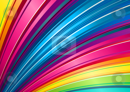 Rainbow fan background stock vector clipart, Brightly colored rainbow background illustration with stripe pattern by Michael Travers