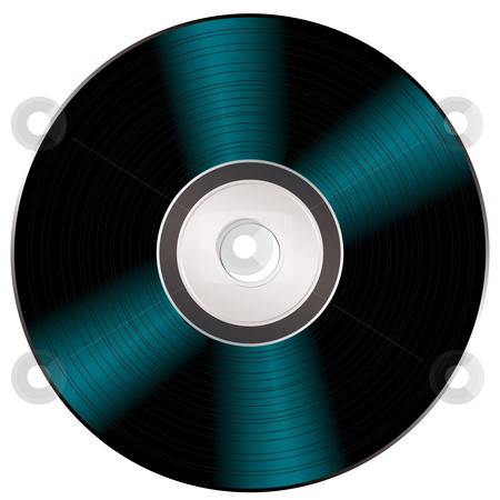 Shiny video cd stock vector clipart, Light reflecting on a black music or video compact disc by Michael Travers