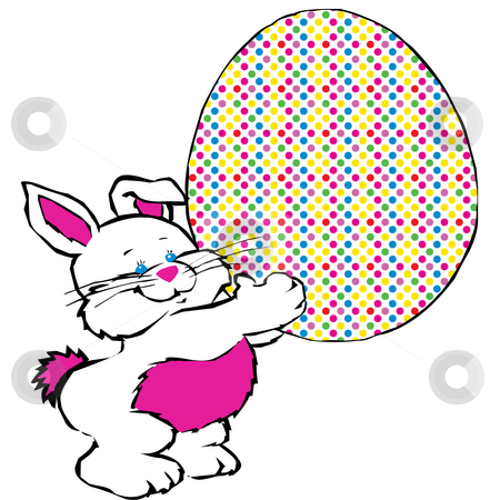 Easter Bunny  stock photo, Easter bunny carrying easter egg by CHERYL LAFOND