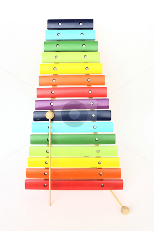 Colorful xylophone stock photo, Toy colorful xylophone, isolated by Borislav Marinic