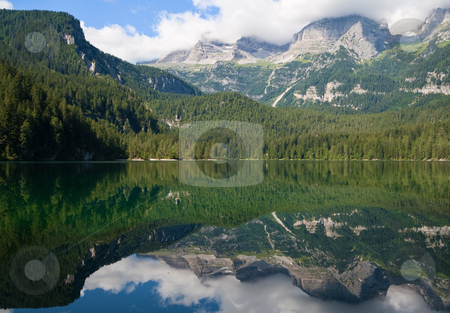 Lago Tovel stock photo, Summer view of a beautiful lake in Italian alps by ANTONIO SCARPI