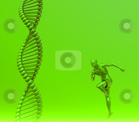 Human dna stock photo, DNA strands and running man  - 3d illustration by J?