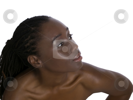 Bare shoulder portrait of pretty black woman stock photo, Beautiful African American woman portrait bare shoulders by Jeff Cleveland