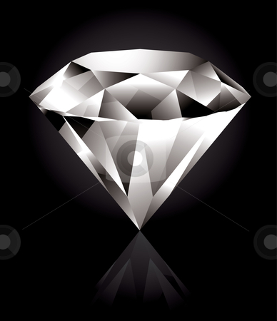 Diamond stock vector clipart, Shiny and bright diamond on a black background by Thomas Amby Johansen