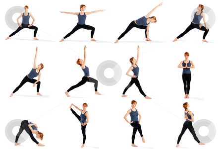 Fitness Woman in Various Standing Yoga Poses stock photo, Young attractive female fitness model in various standing yoga poses isolated on white background. by Rognar