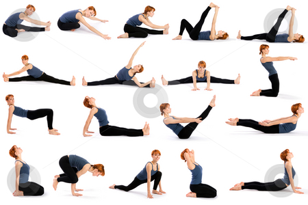 Woman in Various Sitting Yoga Poses stock photo, Female fitness model in various sitting yoga poses isolated on white background. by Rognar