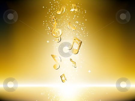 Golden background with music notes and stars. stock vector clipart, Golden background with music notes and stars. Editable Vector Image by AUGUSTO CABRAL