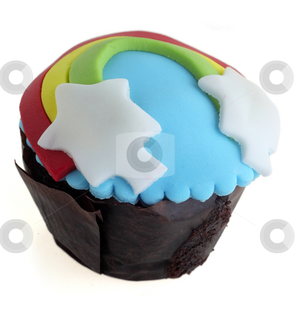 Isolated decorated cup cake stock photo, A cup cake suitable for a children's party, isolated on a white background by Paul Cowan