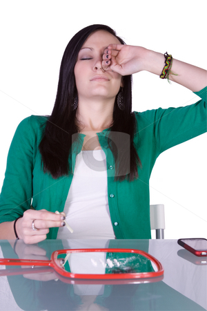 Teen Drug Addiction Problem - Cocaine stock photo, Teen Girl Taking Drugs - Teenage Drug Addiction Problem Cocaine by Mehmet Dilsiz