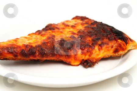 Re-heated Burnt Pizza stock photo, A slice of Pizza was burned while being re-heated served on a white saucer isolated. by Lynn Bendickson