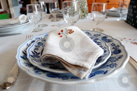 Table setting, napkin stock photo, Table setting, handmade napkin decorated with flowers by ALESSANDRO TERMIGNONE