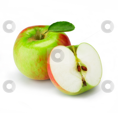 Fresh apple with half stock photo, Fresh apple with half on white. The file includes a clipping path.  Professionally retouched high quality image. by Roman Shyshak