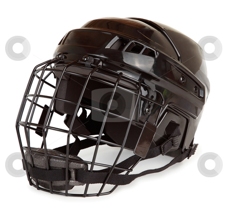 Hockey Helmet stock photo, This is an isolated closeup of a hockey helmet. by Denis Pepin