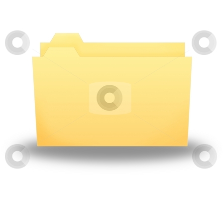Folder stock photo, Regular yellow folder little open on white background by Henrik Lehnerer