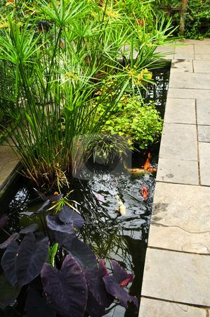 Lush green garden stock photo, Lush green garden with stone landscaping and koi pond by Elena Elisseeva