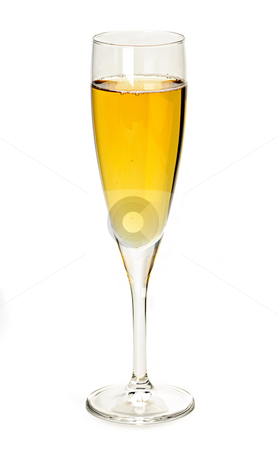 Champagne glass stock photo, Champagne glass with sparkling wine isolated on white background by Elena Elisseeva