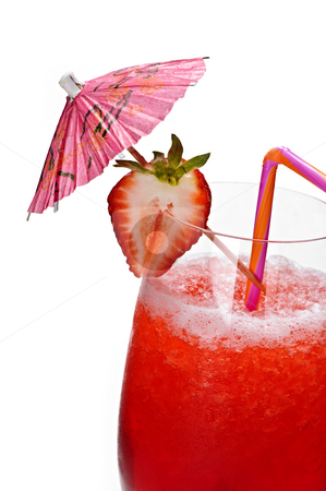 Strawberry daiquiri stock photo, Strawberry daiquiri in glass isolated on white background with umbrella by Elena Elisseeva
