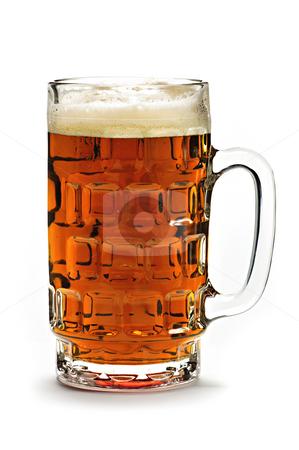 Mug of beer stock photo, Full beer glass isolated on white background by Elena Elisseeva