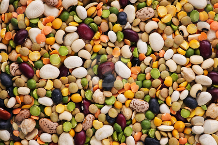 Dry beans and peas stock photo, Assorted Mix of dry beans and peas by Elena Elisseeva