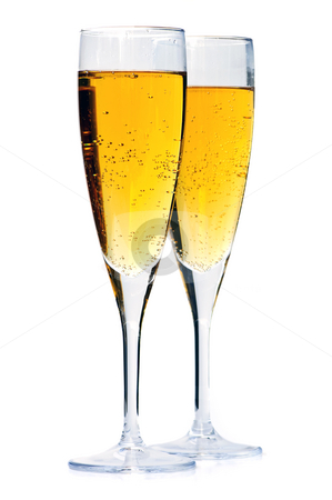 Champagne glasses stock photo, Two full champagne flutes isolated on white background by Elena Elisseeva