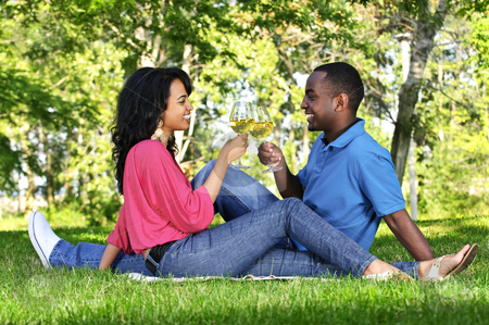 Happy couple having wine in park stock photo, Young romantic couple celebrating with wine in summer park by Elena Elisseeva