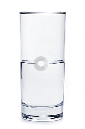 Half full glass of water stock photo, Glass of water half empty isolated on white background by Elena Elisseeva