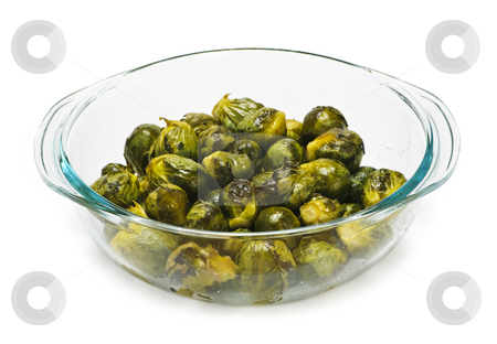 Casserole dish of brussels sprouts stock photo, Casserole dish of roasted cooked green brussels sprouts by Elena Elisseeva