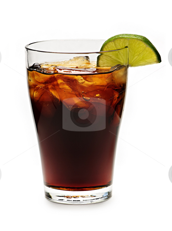 Glass of cola stock photo, Glass of cola with ice and lime isolated on white background by Elena Elisseeva