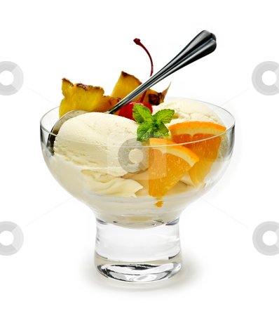 Ice cream with fruit stock photo, Dish of ice cream and fruit isolated on white background by Elena Elisseeva