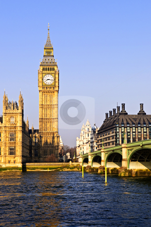 Big Ben and Westminster bridge stock photo, Big Ben and Westminster Bridge in London by Elena Elisseeva
