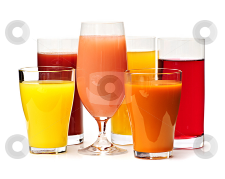Glasses of various juices stock photo, Various glasses of juices isolated on white background by Elena Elisseeva